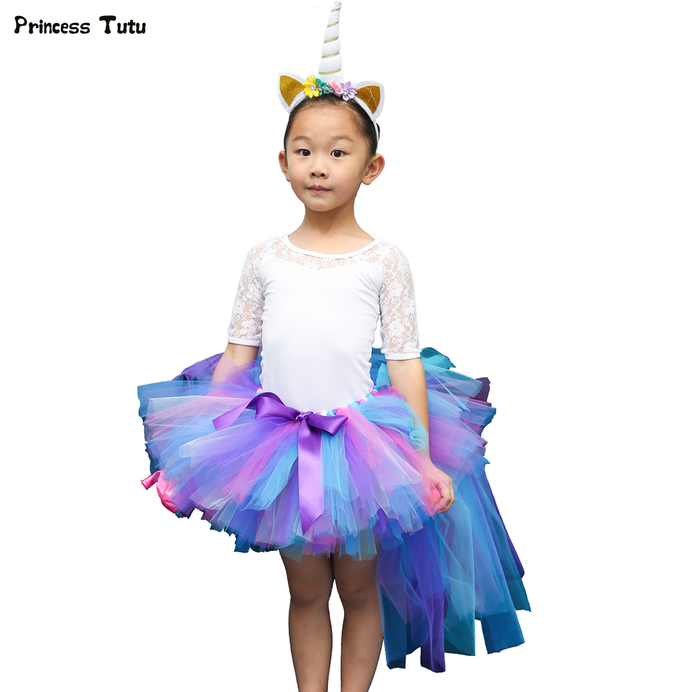 Trailing Baby Girl Tutu Skirt Short Front Long Back Girls Tulle Skirt Fluffy Unicorn Party Birthday Children Kids Pettiskirt buttoned split front skirt