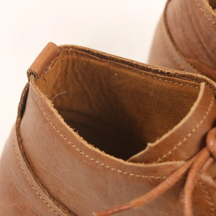 HUIFENGAZURRCS Botas planas redondas de cuero real retro de arte para mujer, zapatos hechos a mano puros cómodos botas informales suaves que combinan con todo-in Botas hasta el tobillo from zapatos    2