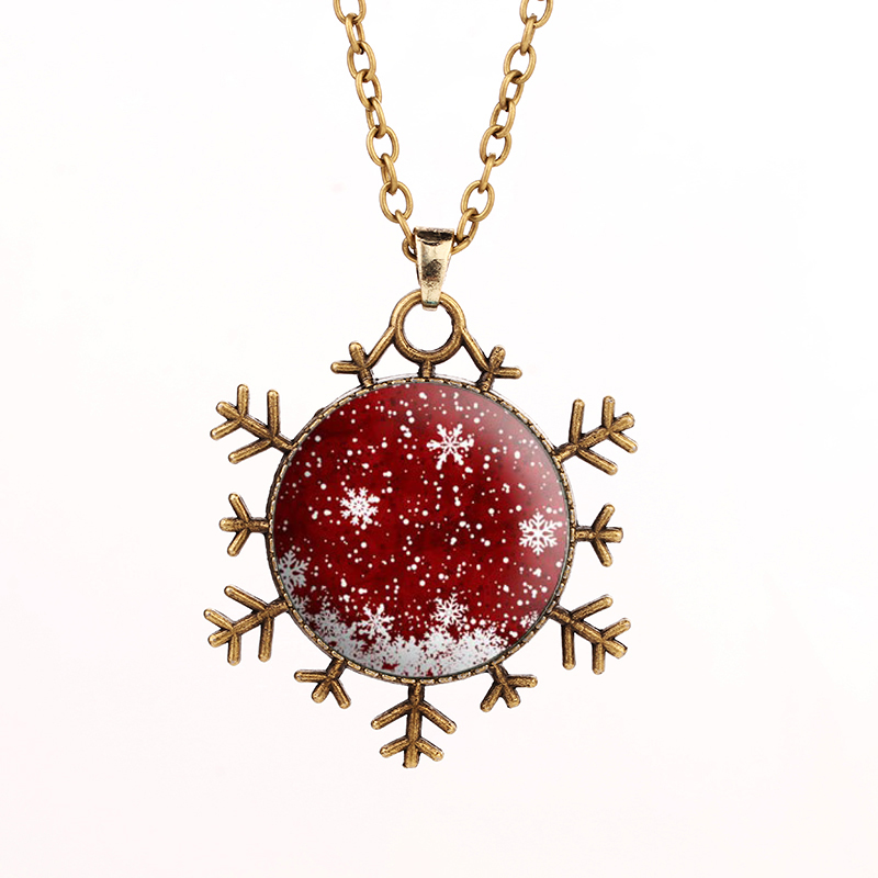 SUTEYI Wholesale New Arrival Christmas Gift Jewelry Cabochon Christmas Santa Merry Christmas Snowflake Pendant Necklace Jewelry