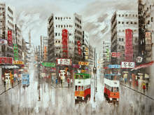 Ручная роспись холст нож картина маслом абстрактная Гонконг