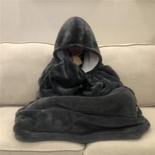 Winter Thick Comfy TV Blanket Sweatshirt/Solid Warm Hooded Blanket/Fleece Blanket