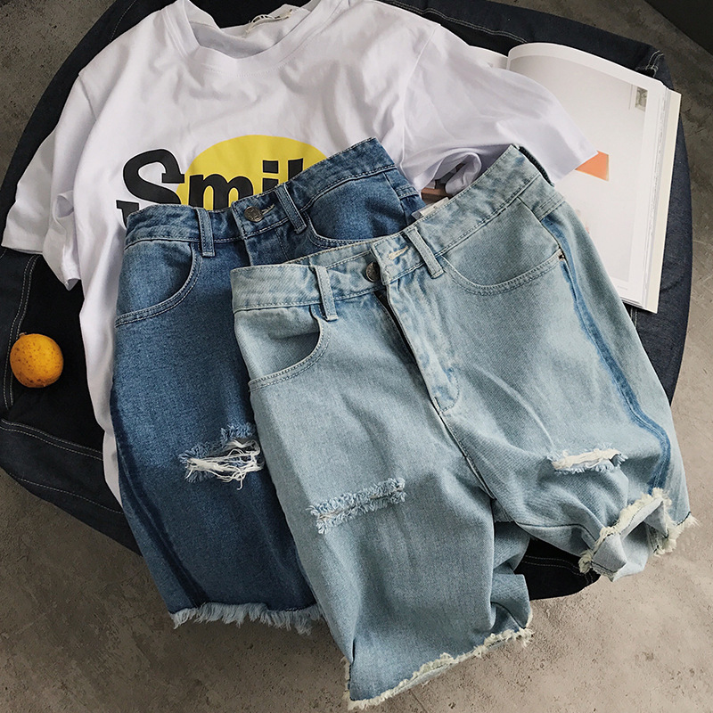 Shorts Men Jeans Big-Size Men's Summer Casual New of High Hole Loose