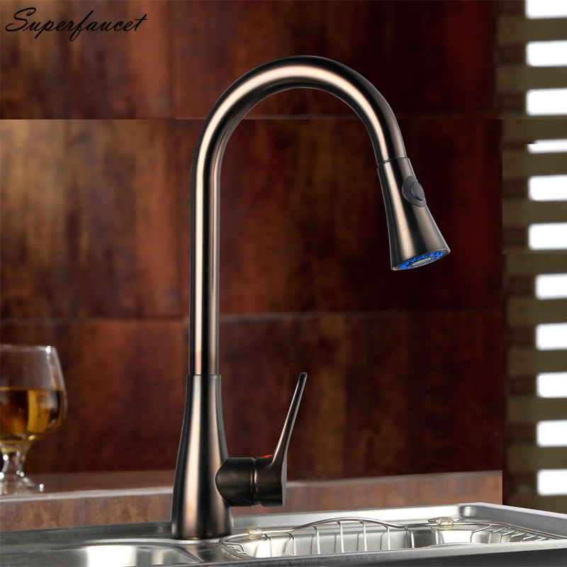 Superfaucet Bronze Kitchen Faucet Pull Out Single Handle,Taps for Kitchen Mixer,Hot Cold Water Kitchen Sink Mixer Tap HG-6520 blackened bronze square washing basin faucet one handle pull out sprayer bathroom vessel sink hot and cold water taps