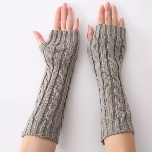 1pair Long Braid Cable Knit Fingerless Gloves Women Handmade Fashion Soft Gauntlet Practical Casual Gloves TS95