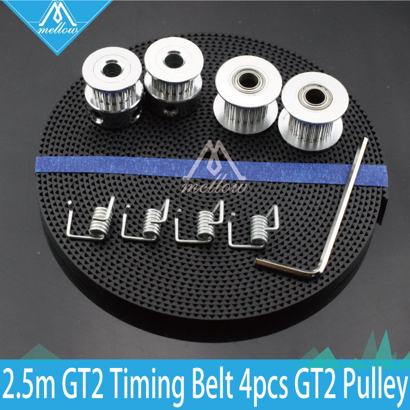 3D printer Parts 2X GT2 Pulley 20 Teeth/tooth Bore 5mm + 8ft 2.5m 2GT GT2 Timing Belt & 2X Idler 4X Tensioner for RepRap