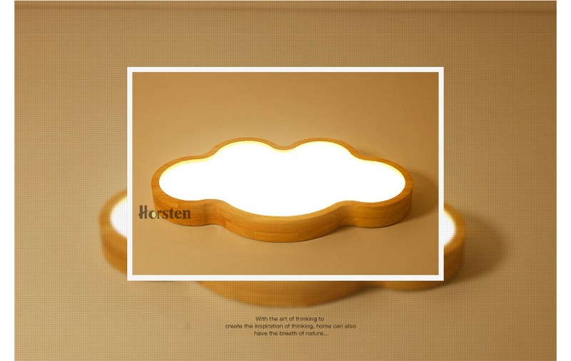 Japanese Style Room Ceiling Lights Cloud Shape LED Ceiling Light For Bedroom Kids Luminaire Cute Wooden Kitchen Lighting Fixture (3)