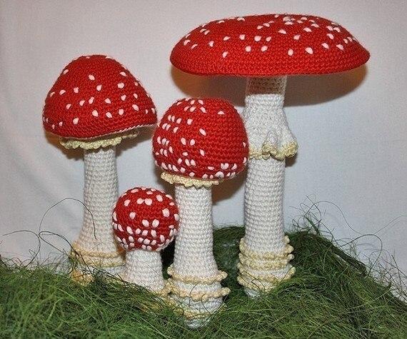 Crochet Mushroom  , Baby Shower   House Room , Gift For Freind Rattle Toy