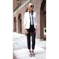 לבן שחור מעיל אחיד משרד רשמי ערב גבירותיי מכנסיים מכנסיים של נשים עסקי חליפות טוקסידו חתונת חליפת Slim 2 Piece