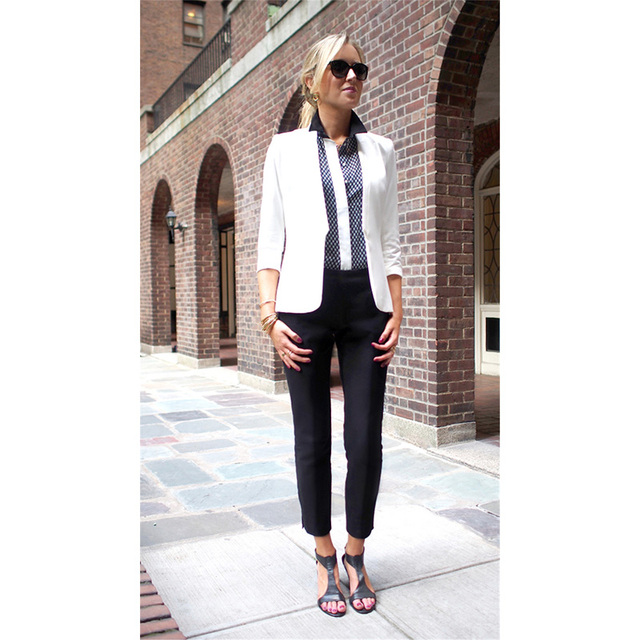 White Jacket Black Pants Womens Business Suits Formal Office ...