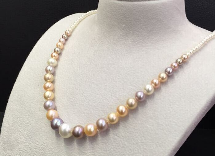 18 inch 8-11 MM sud mare naturale rotondo multicolore collana di perle 925 argento18 inch 8-11 MM sud mare naturale rotondo multicolore collana di perle 925 argento