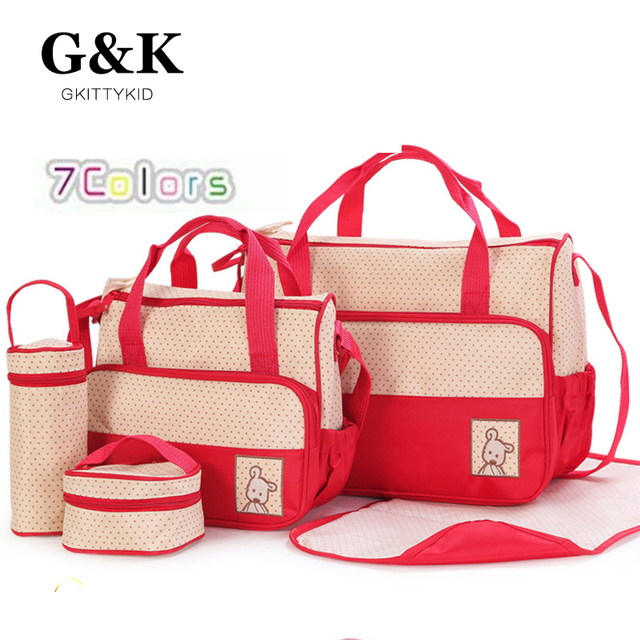 2017 Hi-Q waterproof 5PCS/Set  Nylon baby diaper bags Multi-function large capacity Mummy bag aslant baby backpack diaper bags