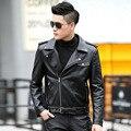 1 unids hombres chaquetas de cuero de la motocicleta chaqueta corta 2017 de Primavera de cuero Genuino Pequeña Chaqueta Hombres Flaco blazers Abrigos Jóvenes hombre