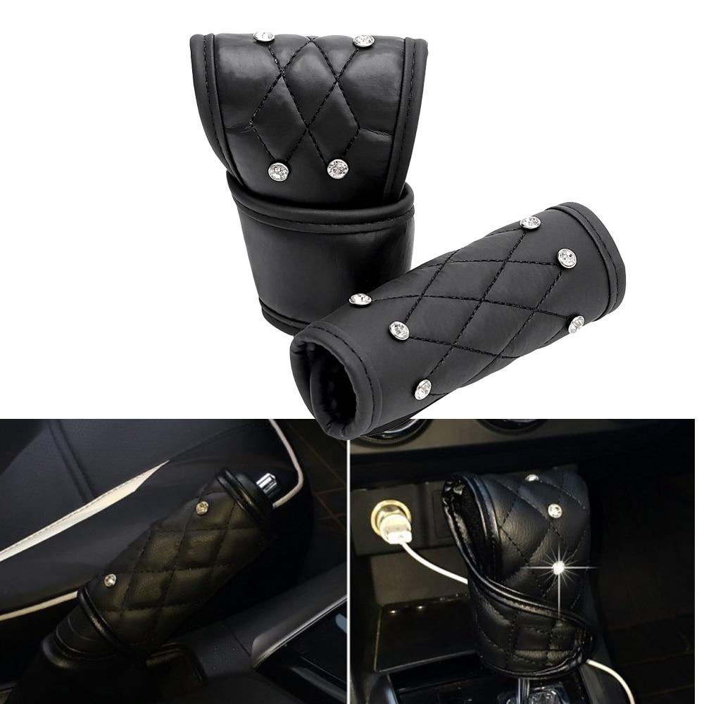2Pcs/Set Universal Car Handbrake Protector Padding Gear Shift Knob Cover Leather Auto Crystal Shiny Hand Brake Gear Cover Black