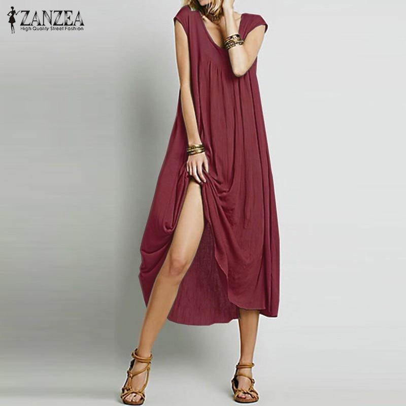 ZANZEA Moda  Mujeres Vestido Sin Mangas de Algodón Vestidos de Fiesta Largo Maxi