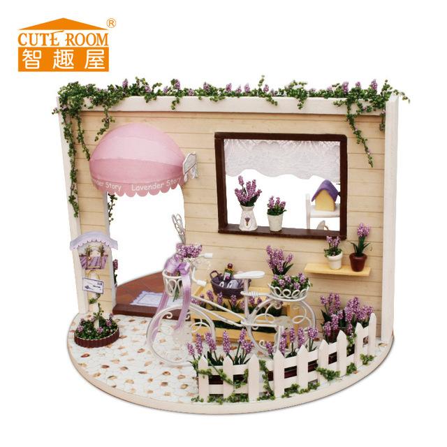 QUARTO BONITO Handmade Girar a caixa de música Da Boneca DIY Montado Rotativo Casa Romântico Brinquedos do Presente Do Bebê Crianças com música GH484