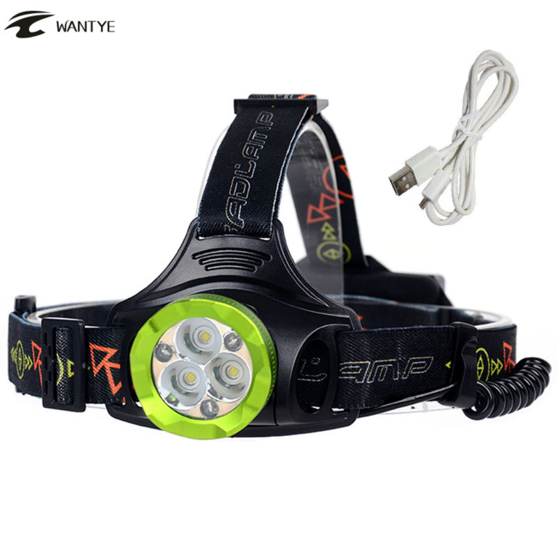 Head Lamp XM-L T6 15000lm Headlamp Flashlight Head Rechargeable USB LED 4 Mode 3T6 +3 Red light for Camping Hunting light ultrafire u 100 4 led 4 mode 2400lm white bike light headlamp black deep pink