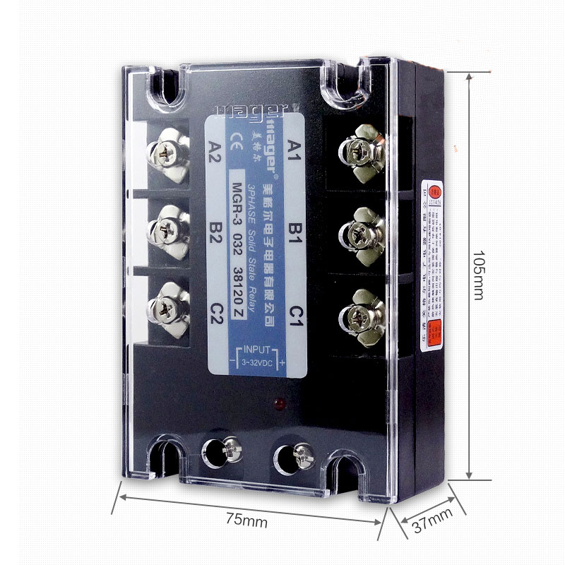 Free shipping 1pc High quality 120A Mager SSR MGR-3 032 38120Z DC-AC Three phase solid state relay DC control AC 120A 380V free shipping 1pc high quality 100a mager ssr mgr 3 38100z ac ac three phase solid state relay ac control ac 100a 380v