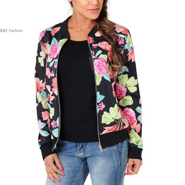 Mujeres de la manera Floral Delgado Cremallera Corta Ocasional Escudo Bomber Jacket