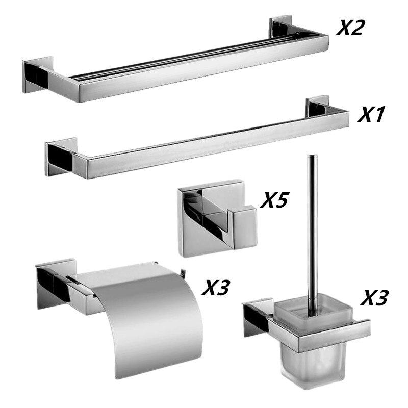 AUSWIND acier inoxydable chrome finition salle de bains costume ware mur monté salle de bains accessoires ensemble 14 pices