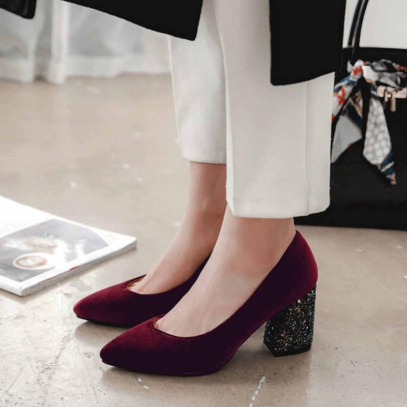 e4a2253a719b ... Sianie Tianie velour velet classic woman pumps shoes green burgundy  stilettos glitter bling block high heels ...