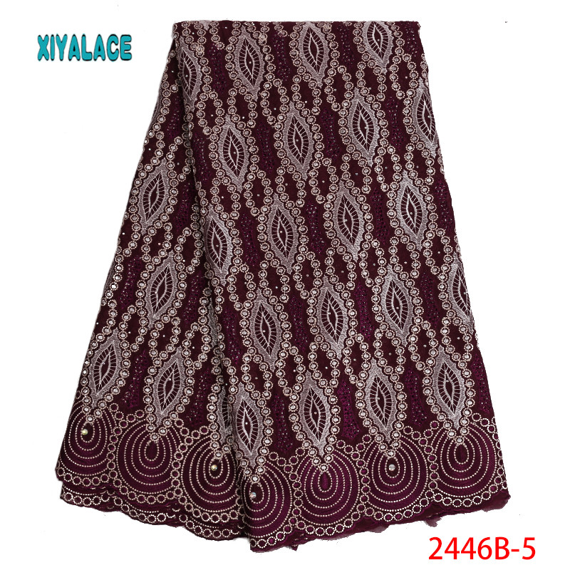 African Lace Fabrics 2019 Nigerian Swiss Voile Lace High Quality French Swiss Voile Lace In Switzerland For Wedding YA2446B-5