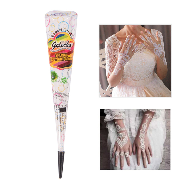 White Color Indian Tattoo Henna Paste Cone For Body Art Drawing