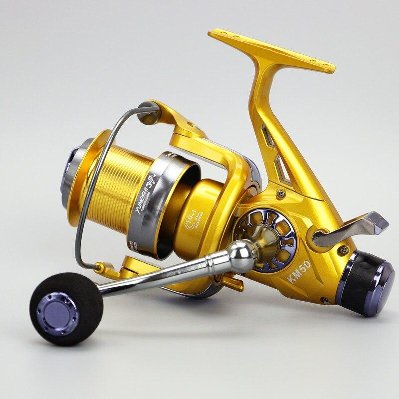 Matériel de pêche bobine avant arrière frein roue KM50/60 tête en métal océan tige coulée carpe bobines 10 + 1BB