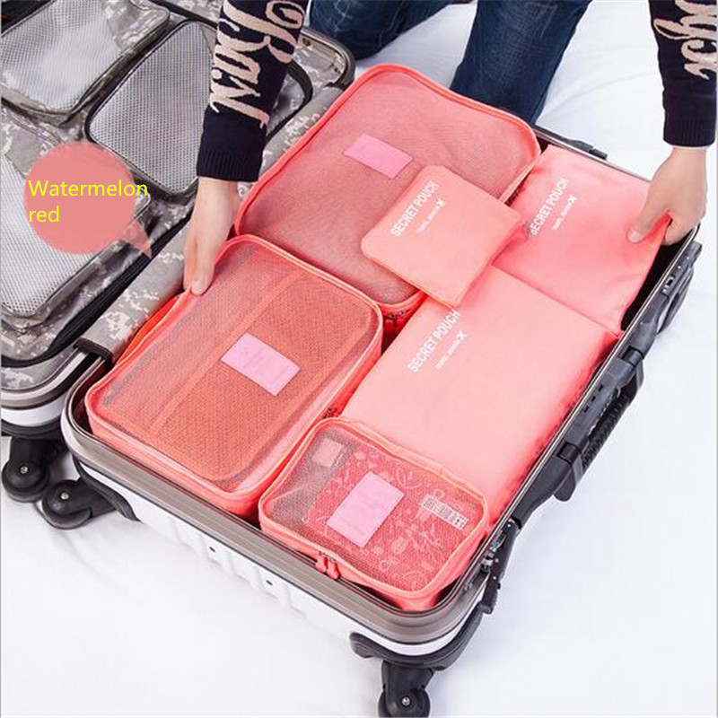 Hot Sale 6pcs/set Women Travel Storage Bag High Capacity Luggage Clothes Tidy Organizer Pouch Portable Waterproof Storage Case