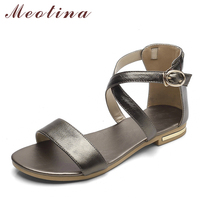 Meotina Genuine Leather Women Sandals Block Heel Summer Shoes Open Toe Ladies Flat Shoes Buckle 2018