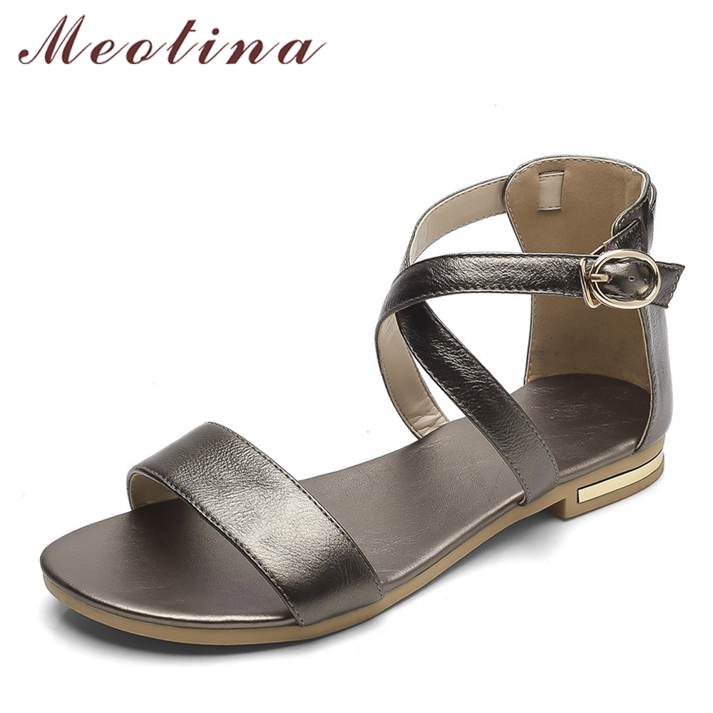 Meotina Genuine Leather Women Sandals Block Heel Summer Shoes Open Toe Ladies Flat Shoes Buckle 2018 Female Footwear Size 33-46 mvvjke summer women shoes woman genuine leather flat sandals casual open toe sandals women sandals