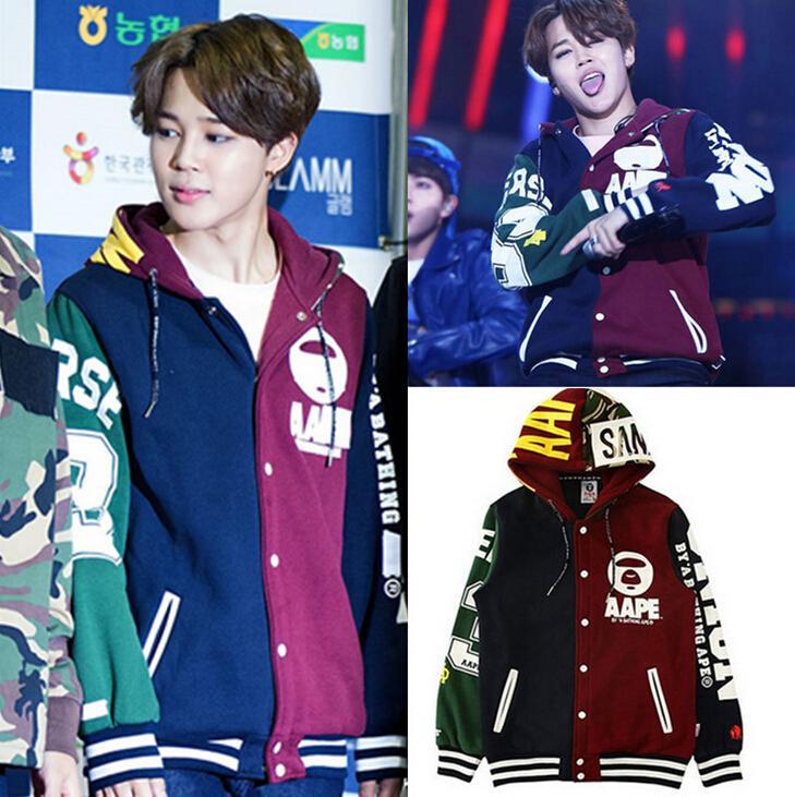 Kpop BTS JIMIN baseballuniform baumwolle hoodie unisex mantel mit hut haube durch...