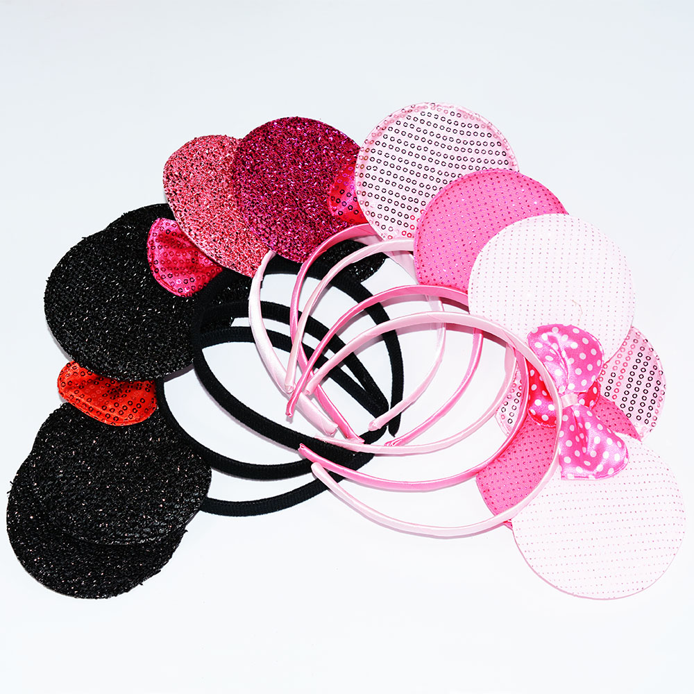 Minnie Mouse Headband Polka Dots Ears Red Bow Birthday Party Favors Wedding Christmas Decoration Birthday Party Hair Accessories