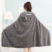 Totoro cobertor minky para adultos, 160x90cm, bonito, para dormir, cabana, desenho animado, macio, com capuz, cobertor coralino, nap, silencioso