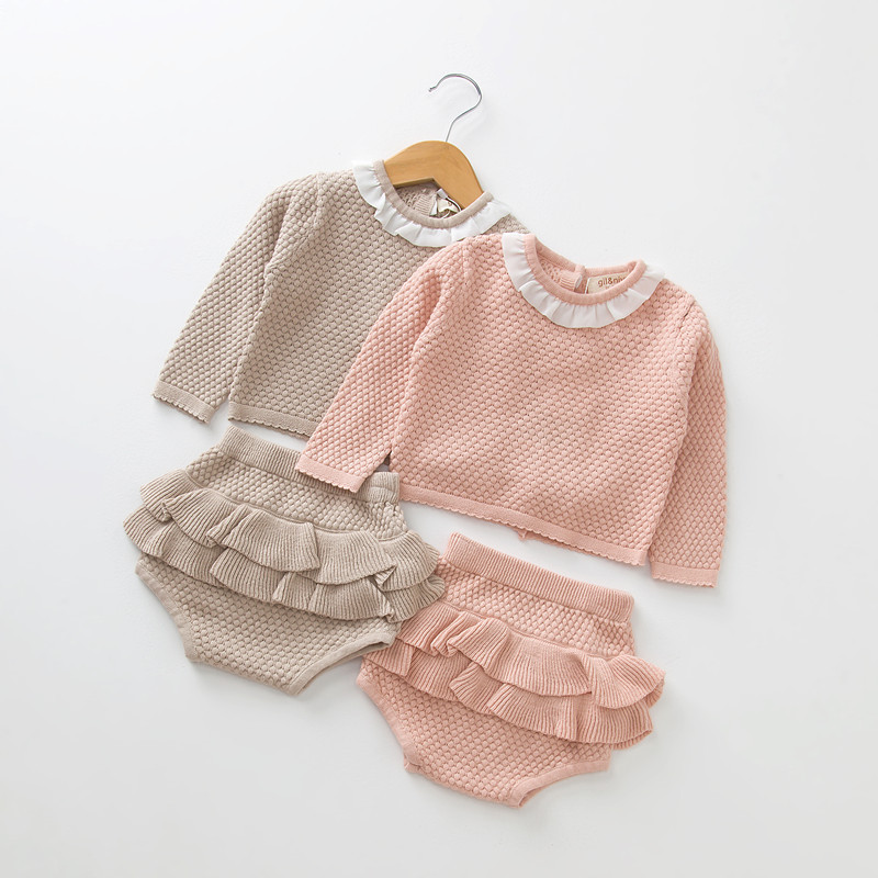 2018 New Infant Baby Girls Autumn Knitted Sweater Clothing set Long Sleeve Jumper+Ruffles Shorts 2pcs Children High Quality Suit pink perkins collar knitted thin jumper