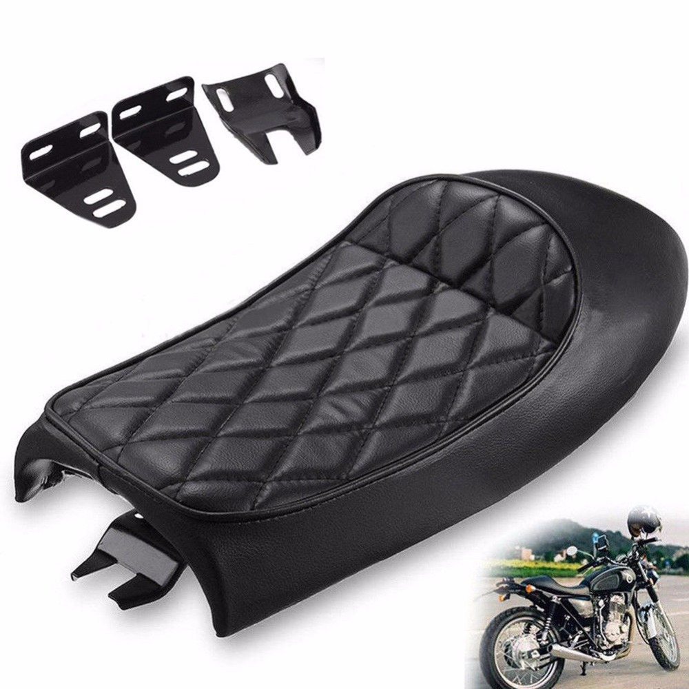Triclicks Black Brown Cafe Racer Vintage Saddle Hump Custom Seat Motorcycle Vintage Cafe Racer Seats For Honda CB350 CB450 CB750 2017 universal cafe racer seat brown hump stitching vintage motorcycle saddle asiento sitz siege selle silla sedile cg quality