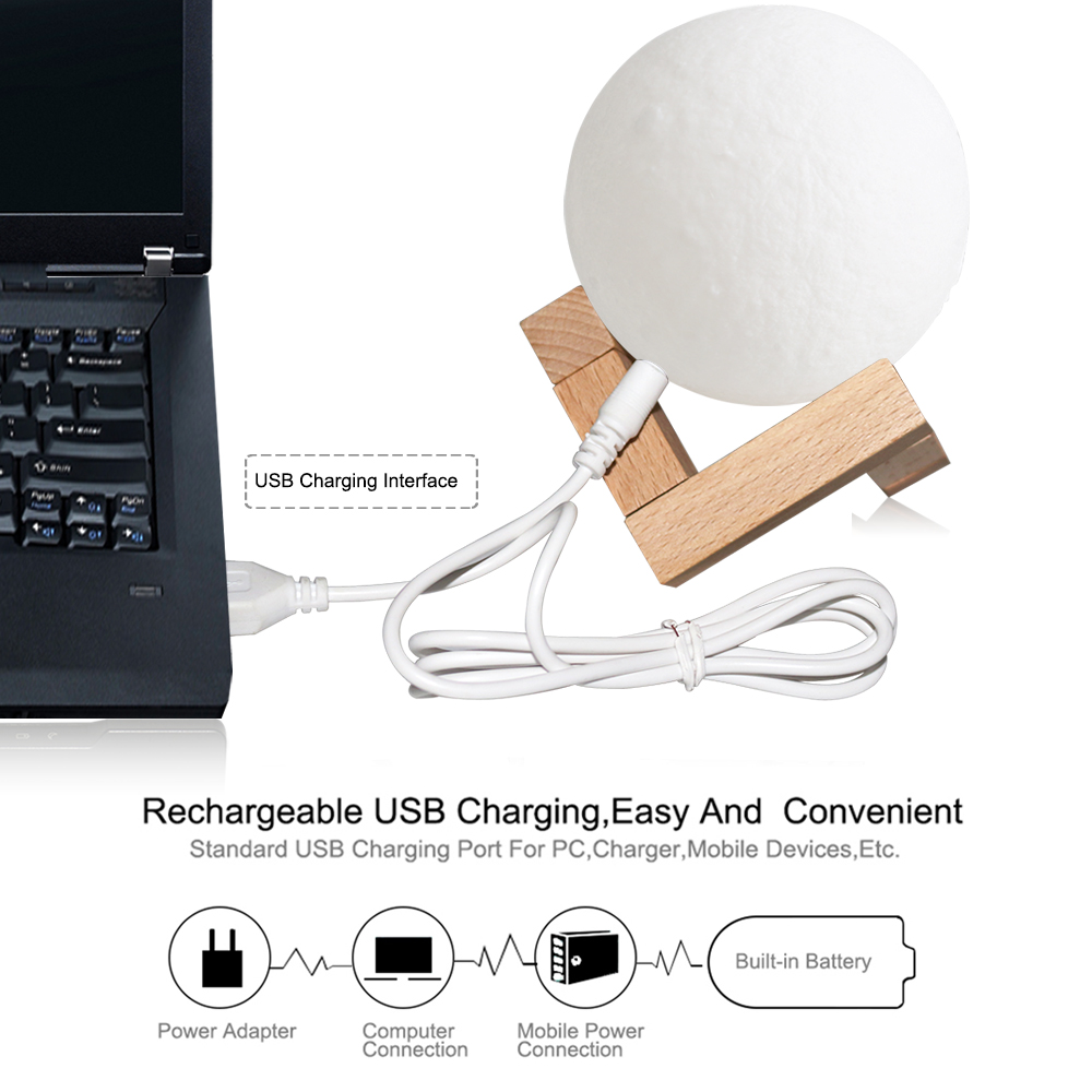 Rechargeable Moon Lamp 3D Touch Control Brightness Light 1