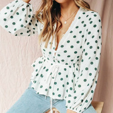 Sexy polka dot long sleeve women blouses and tops V neck pullover lace up blouse shirt Summer elegant female white tops