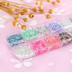 Image 4 - 12 colores brillantes lentejuelas brillo de uñas 3D copos holográficos variados coloridos sirena rombos lentejuelas uñas artísticas decoración TRT 1