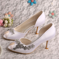 Classic Women White Pumps Shoes Wedding Bridal Heels 8CM Dropshipping