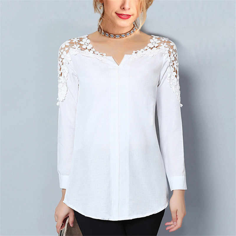 Herfst Blouse 2019 Vrouwen V-hals Tuniek Lace Blouse Casual Lange Mouwen Wit Shirt Losse Top Pure Elegante Office Dames Blouses