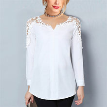 Chiffon Blouse 2019 Women V-Neck Tunic Lace Blouse Casual Long Sleeve White Shirt Loose Top Summer Elegant Office Ladies Blouses(China)