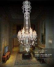 Grande escada longo hotel lustre de cristal luxo moderno longo k9 lobby hotel lustres vela luminária lustre