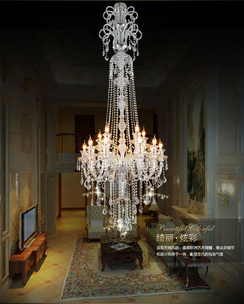 large stair long hotel luxury crystal chandelier modern long K9 Lobby hotel lustres de cristal candle chandelier fixture new modern chandelier led crystal lamps long pendant chandelier lustres de cristal kronleuchter ac110 240v stair chandelier