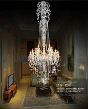 large stair long hotel luxury crystal chandelier modern long K9 Lobby hotel lustres de cristal candle