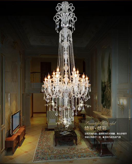 Large stair long hotel luxury crystal chandelier modern long k9 large stair long hotel luxury crystal chandelier modern long k9 lobby hotel lustres de cristal candle aloadofball Image collections