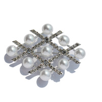 Imitation Pearl Rhinstone Brooches For Women silver-color geometric Rhombus Clothes Hat Accessories Bijoux Female Birthday Gifts