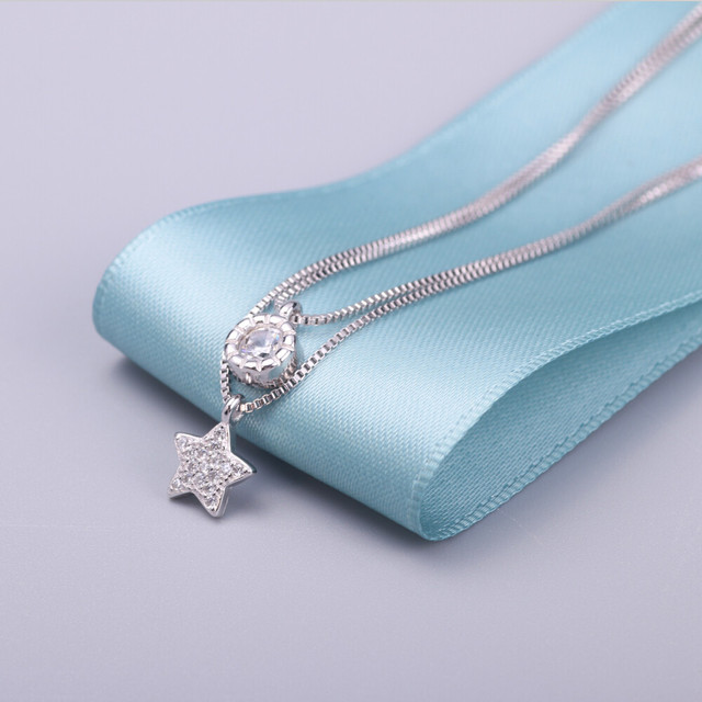 100% sterling silver jewelry shiny star necklaces silver 925 necklace & pendants