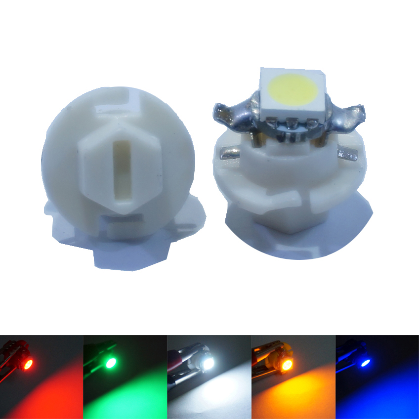 10 Pcs/Lot  B8.4 B8.4D T5  5050 1SMD LED Auto Instrument Lamp Panel Lights Wedge Car Dashboard Bulbs DC 12V