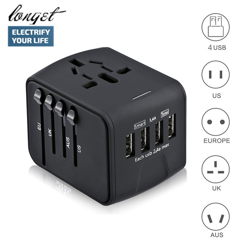 лучшая цена LONGET Travel Adapter International Universal Power Adapter All-in-one with 3.4A 4 USB Worldwide Wall Charger for UK/EU/AU/Asia