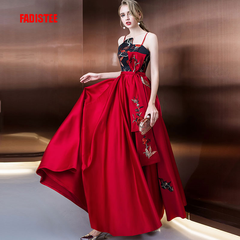 FADISTEE new arrival elegant long dress prom party dresses high neck burgundy Embroidery satin vestido de noiva formal evening